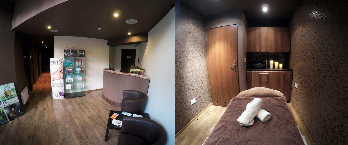 Massage therapy room and reception